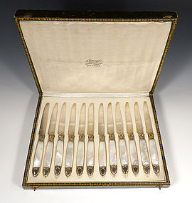 Napoleon III Mother Of Pearl & Silver Dessert Service