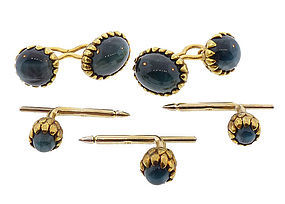18K Gold & Cat's Eye Green Tourmaline Dress Set