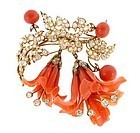 Victorian 18K Gold, Diamond & Coral Lily Brooch