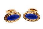 Victorian 14K Yellow Gold & Lapis Lazuli Cufflinks