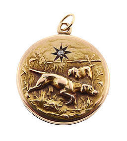 Victorian 14K Yellow Gold & Diamond Hound Locket