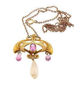 Art Nouveau 14K Enamel Pink Tourmaline Pendant Necklace