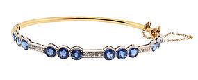 Edwardian 14K Platinum Diamond Sapphire Bangle Bracelet