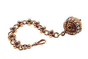Renaissance Revival 14K Ruby Sapphire Pearl Watch Fob