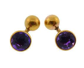 Victorian 14K Gold & Amethyst Cabochon Cufflinks