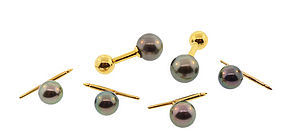 Louis Tamis 18K Gold & South Sea Black Pearl Dress Set