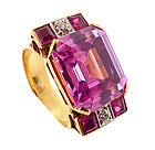 Retro 18K, Diamond, Synthetic Ruby & Pink Sapphire Ring