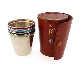 Art Deco Enameled Chrome & Leather Shot Glass Set