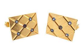 Vintage 14K Gold & Sapphire Cufflinks
