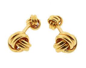 18K Yellow Gold Knot Dumbbell Cufflinks