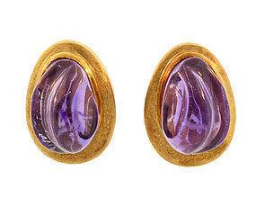 Burle Marx Modernist 18K Gold & Amethyst Earrings