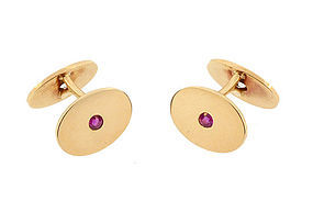 Edwardian 14K Gold, Ruby & Diamond Cufflinks