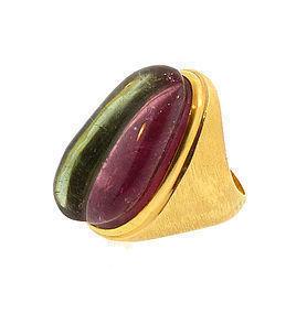 Burle Marx 18K Gold Watermelon Tourmaline Ring
