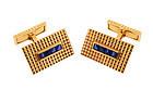 French 18K Gold & Sapphire Cufflinks