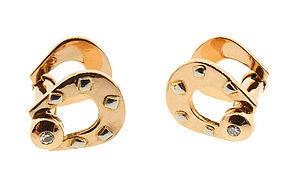 French 18K Gold & Diamond Snaffle Cufflinks
