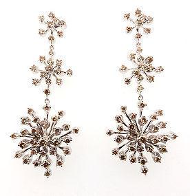 H Stern 18K Gold Cognac Diamond Snowflake Earrings