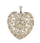Edwardian Platinum Diamond Puffed Heart Pendant/Brooch