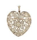 Edwardian Platinum Diamond Puffed Heart Pendant/Brooch