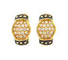 Pery & Cie French 18K Gold Diamond Sapphire Earrings