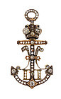 Imperial Russian Czar Nicholas II Diamond Anchor Brooch