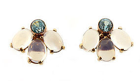 Retro 14K Gold, Blue Zircon & Moonstone Earrings