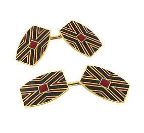 French Art Deco 18K Gold Enameled Cufflinks