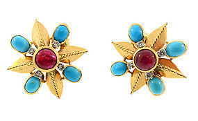 French 18K Gold Diamond Ruby Turquoise Earrings