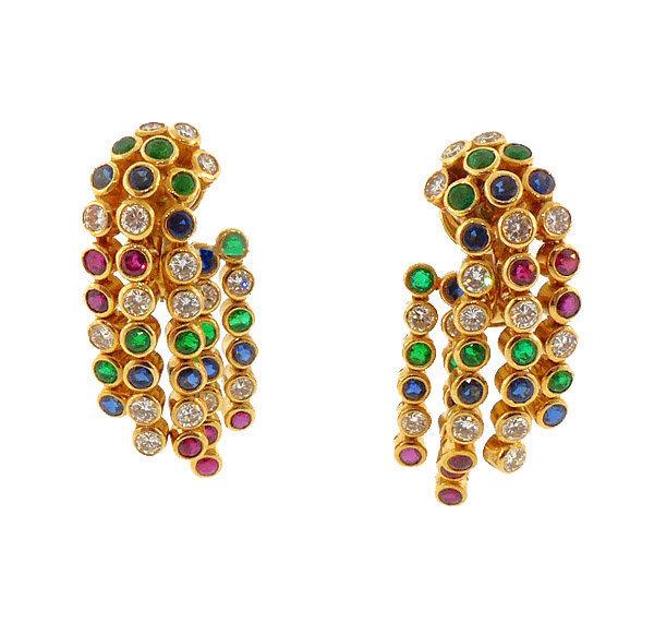 Chaumet 18K Diamond Ruby Sapphire Emerald Earrings