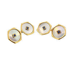Edwardian 18K Gold Sapphire & Mother-of-Pearl Cufflinks
