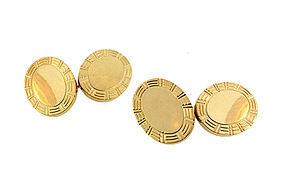 Heavy 14K Yellow Gold Double-Sided Cufflinks
