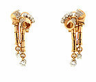 Retro 18K Gold & Diamond Earclips