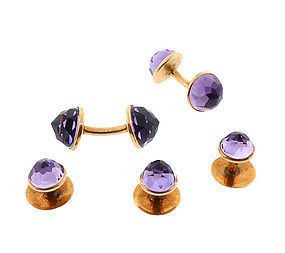 Victorian 14K Gold Amethyst Cufflinks & Studs Dress Set