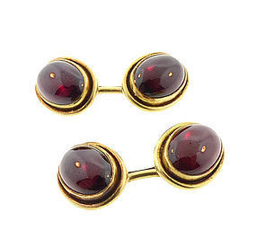 Victorian 14K Gold & Garnet Double-Sided Cufflinks
