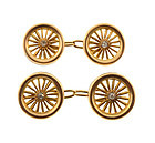 Victorian 15K Gold & Diamond Carriage Wheel Cufflinks