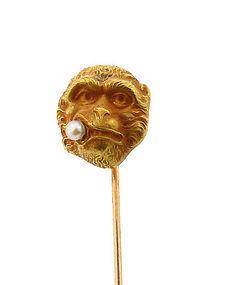 Victorian 14K Gold Smoking Monkey Stick Pin