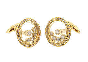 18K Gold & Diamond HAPPY DIAMOND Style Cufflinks