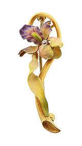 Art Nouveau 14K Gold Enamel & Diamond Iris Brooch