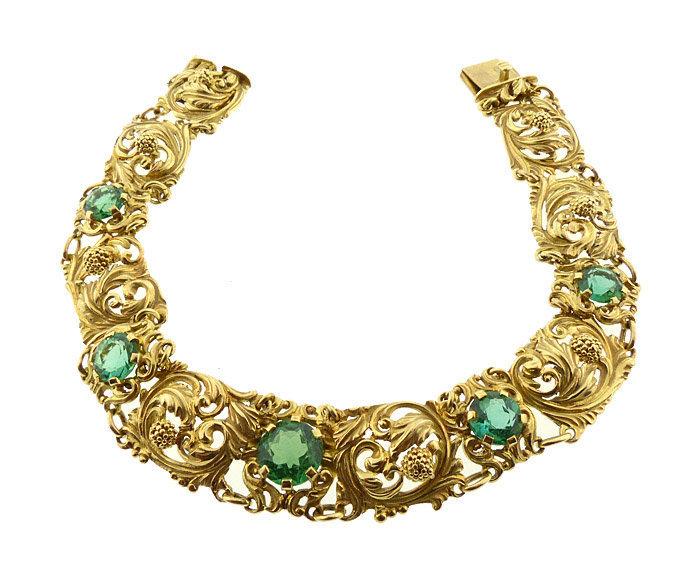 Art Nouveau 14K Gold & Green Tourmaline Bracelet