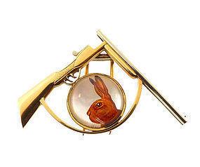 Hermes 18K Essex Crystal Rabbit Shotgun Hunting Brooch