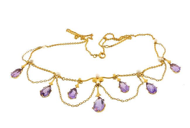 Nouveau Krementz 14K Amethyst Pearl Festoon Necklace