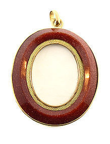 18K Gold  & Aventurine Glass Double-Sided Locket