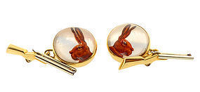 French 18K Gold Essex Crystal Rabbit Shotgun Cufflinks