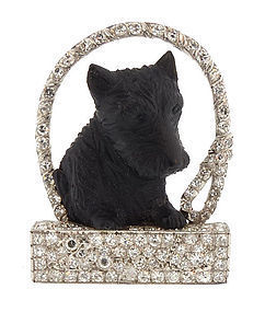 Art Deco Platinum Diamond Carved Stone Scottie Brooch