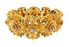 Georgian 20K Multicolored Gold Diamond Emerald Bracelet