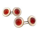 Art Deco Silver Carnelian & Mother of Pearl Cufflinks