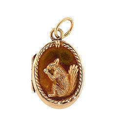 Victorian 14K Gold Squirrel Locket