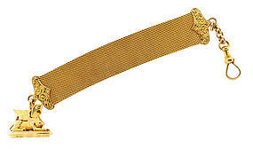 Victorian 14K Gold Sphinx Mesh Watch Chain & Fob