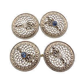 Edwardian 14K White Gold & Sapphire Cufflinks