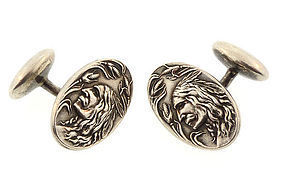 Art Nouveau Sterling Silver Indian Head Cufflinks