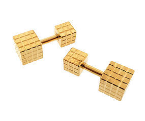 14K Gold Cube Barbell Cufflinks